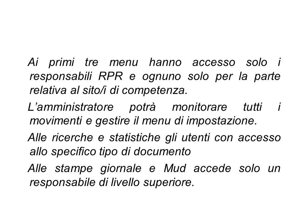 Ai primi tre menu hanno accesso solo i responsabili RPR e ognuno solo per la parte relativa al sito/i di competenza. Lamministratore potrà monitorare