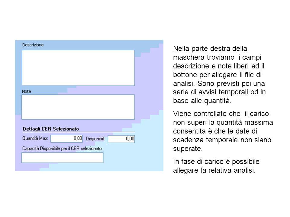 La seconda fase (trasporto e formulario 1) presenterà un elenco dei carichi in attesa di trasporto.