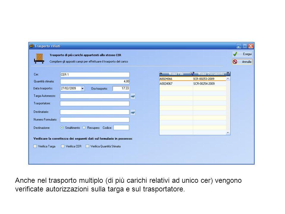 In rosso i trasportatori con certificato relativo allo specifico CER scaduto, quindi non sarà consentito selezionarli.