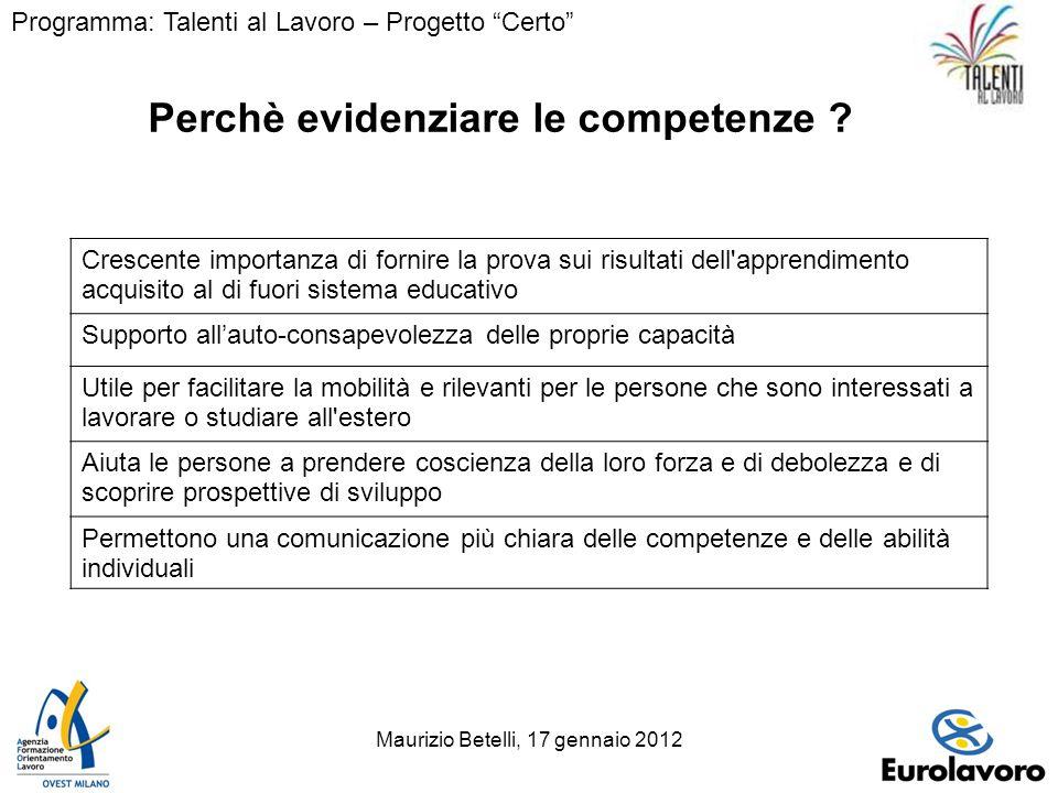 Maurizio Betelli, 17 gennaio 201212 Perchè evidenziare le competenze .