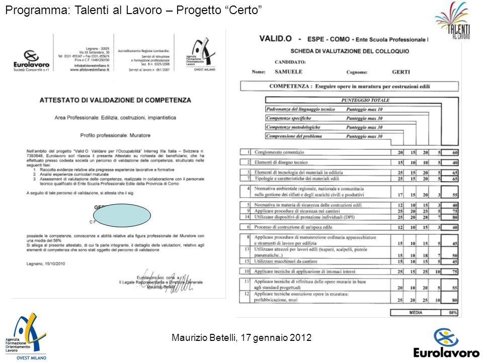 Maurizio Betelli, 17 gennaio 201214 Programma: Talenti al Lavoro – Progetto Certo
