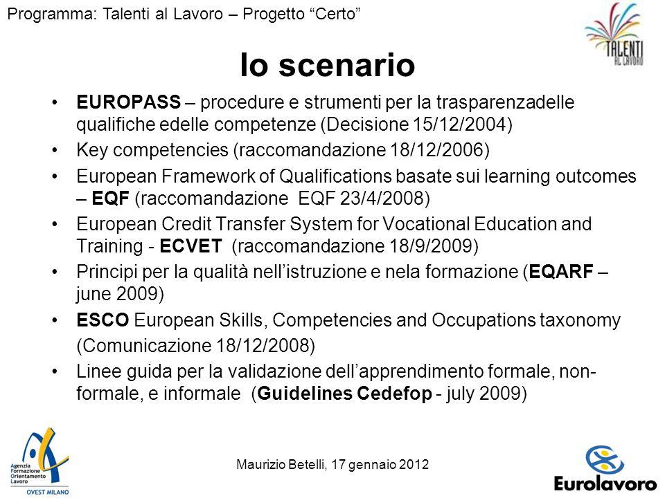 Maurizio Betelli, 17 gennaio 20123 lo scenario EUROPASS – procedure e strumenti per la trasparenzadelle qualifiche edelle competenze (Decisione 15/12/2004) Key competencies (raccomandazione 18/12/2006) European Framework of Qualifications basate sui learning outcomes – EQF (raccomandazione EQF 23/4/2008) European Credit Transfer System for Vocational Education and Training - ECVET (raccomandazione 18/9/2009) Principi per la qualità nellistruzione e nela formazione (EQARF – june 2009) ESCO European Skills, Competencies and Occupations taxonomy (Comunicazione 18/12/2008) Linee guida per la validazione dellapprendimento formale, non- formale, e informale(Guidelines Cedefop - july 2009) Programma: Talenti al Lavoro – Progetto Certo