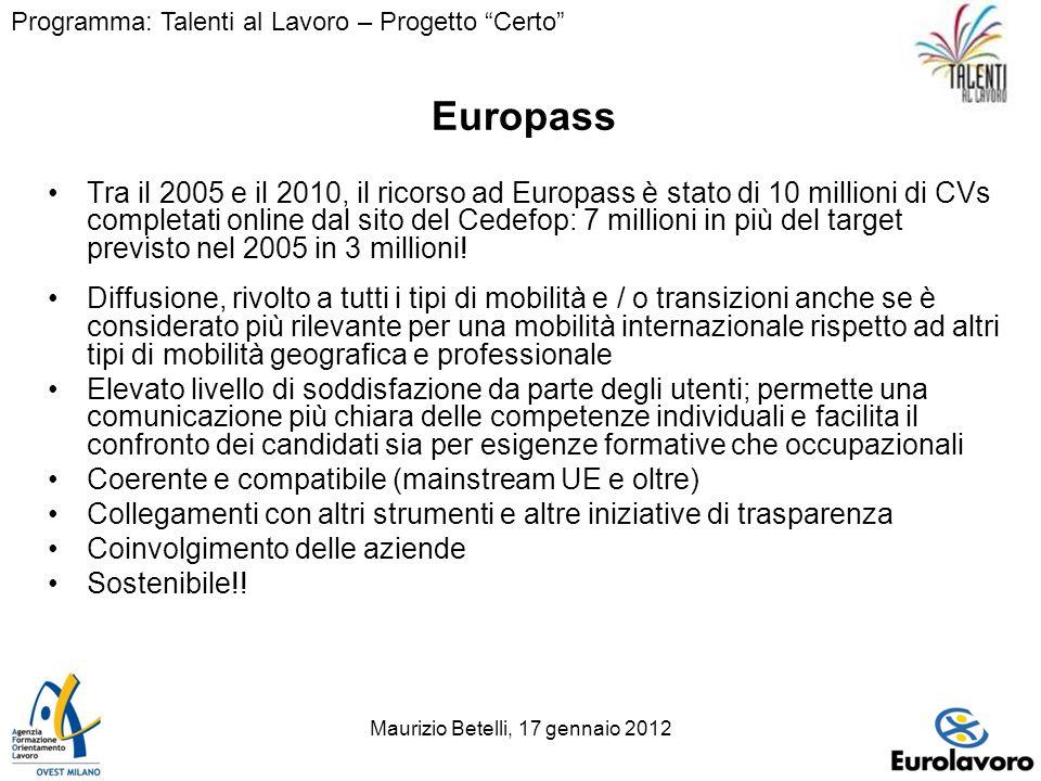 Maurizio Betelli, 17 gennaio 20124 Europass Tra il 2005 e il 2010, il ricorso ad Europass è stato di 10 millioni di CVs completati online dal sito del Cedefop: 7 millioni in più del target previsto nel 2005 in 3 millioni.