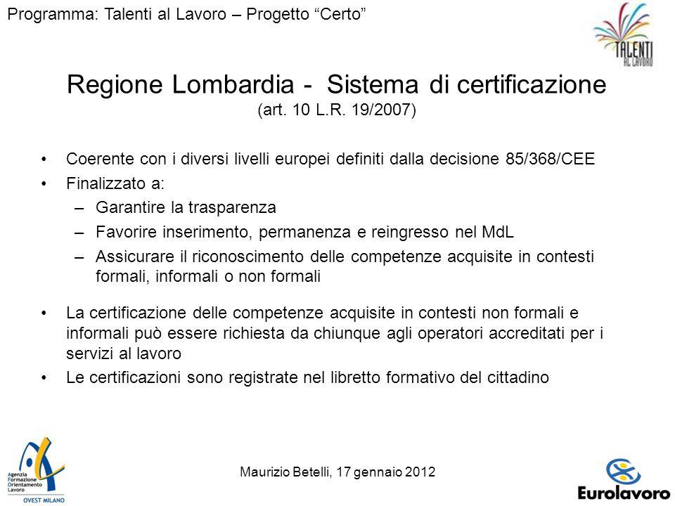 Maurizio Betelli, 17 gennaio 20127 Regione Lombardia - Sistema di certificazione (art.