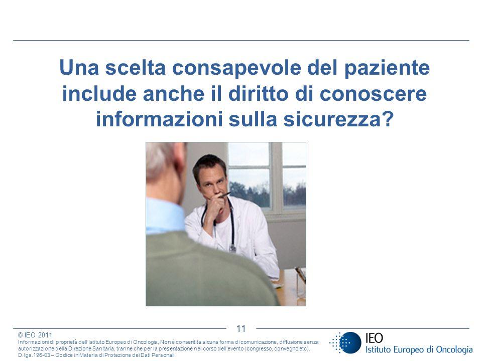 11 Una scelta consapevole del paziente include anche il diritto di conoscere informazioni sulla sicurezza? © IEO 2011 Informazioni di proprietà dellIs