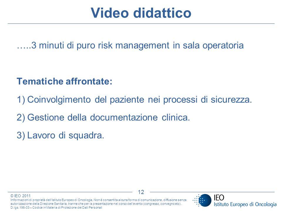 Video didattico …..3 minuti di puro risk management in sala operatoria Tematiche affrontate: 1)Coinvolgimento del paziente nei processi di sicurezza.