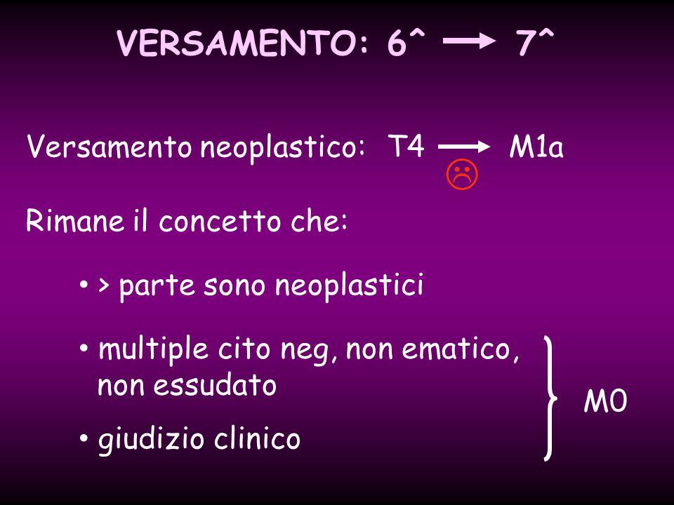 VERSAMENTO: 6^ 7^ Versamento neoplastico: Rimane il concetto che: > parte sono neoplastici multiple cito neg, non ematico, non essudato giudizio clini