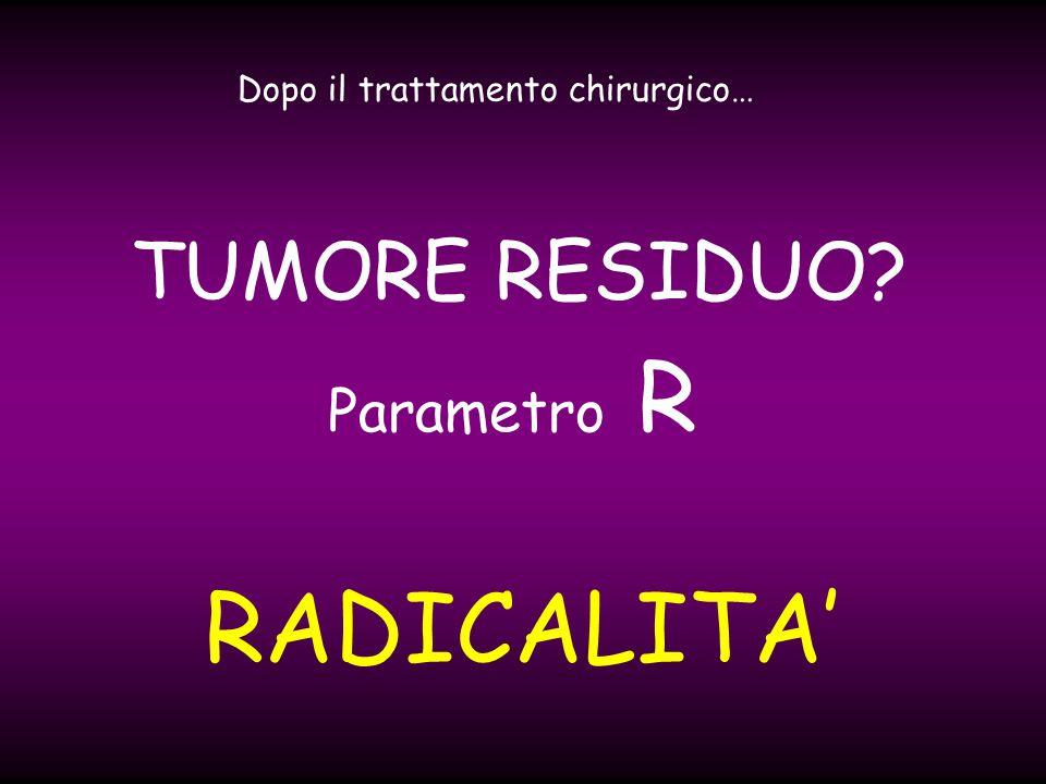 RADICALITA Dopo il trattamento chirurgico… TUMORE RESIDUO? Parametro R