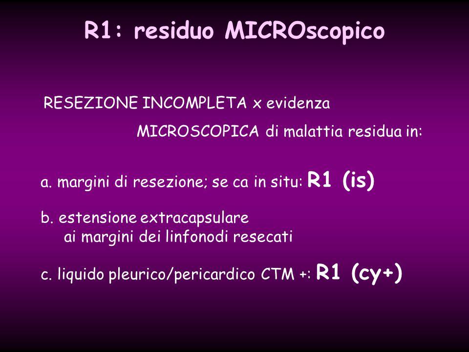 b. estensione extracapsulare ai margini dei linfonodi resecati a. margini di resezione; se ca in situ: R1 (is) R1: residuo MICROscopico RESEZIONE INCO