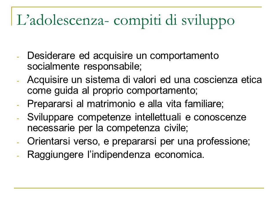 Ladolescenza- compiti di sviluppo - Desiderare ed acquisire un comportamento socialmente responsabile; - Acquisire un sistema di valori ed una coscien