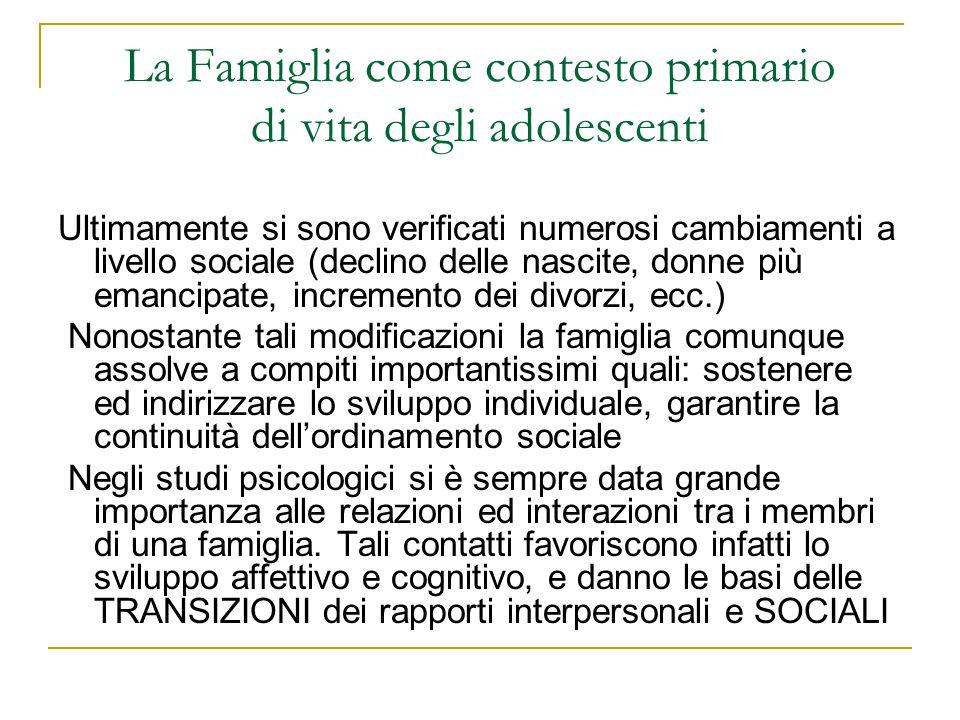 La Famiglia come contesto primario di vita degli adolescenti Ultimamente si sono verificati numerosi cambiamenti a livello sociale (declino delle nasc