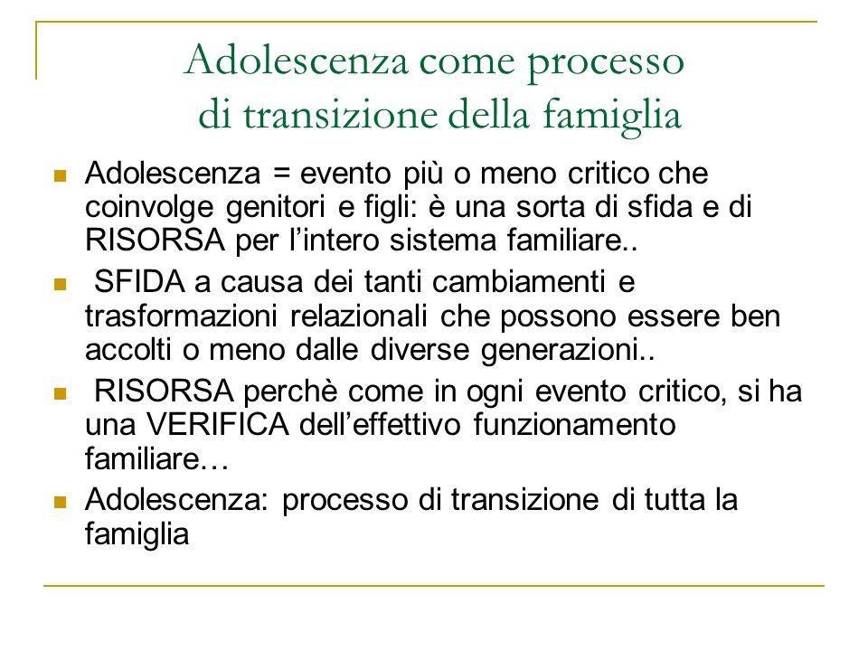 Adolescenza come processo di transizione della famiglia Adolescenza = evento più o meno critico che coinvolge genitori e figli: è una sorta di sfida e