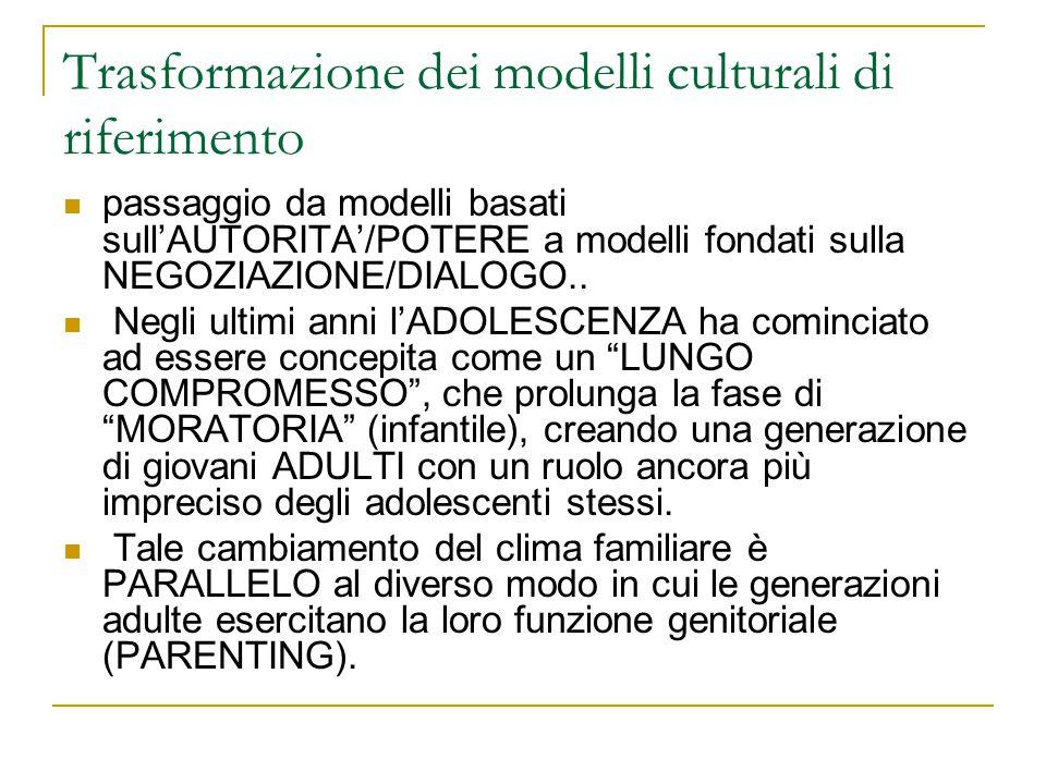 Trasformazione dei modelli culturali di riferimento passaggio da modelli basati sullAUTORITA/POTERE a modelli fondati sulla NEGOZIAZIONE/DIALOGO.. Neg