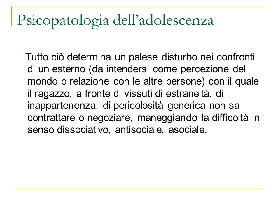 Psicopatologia delladolescenza Tutto ciò determina un palese disturbo nei confronti di un esterno (da intendersi come percezione del mondo o relazione