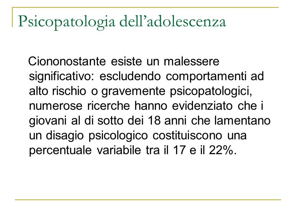 Psicopatologia delladolescenza Ciononostante esiste un malessere significativo: escludendo comportamenti ad alto rischio o gravemente psicopatologici,