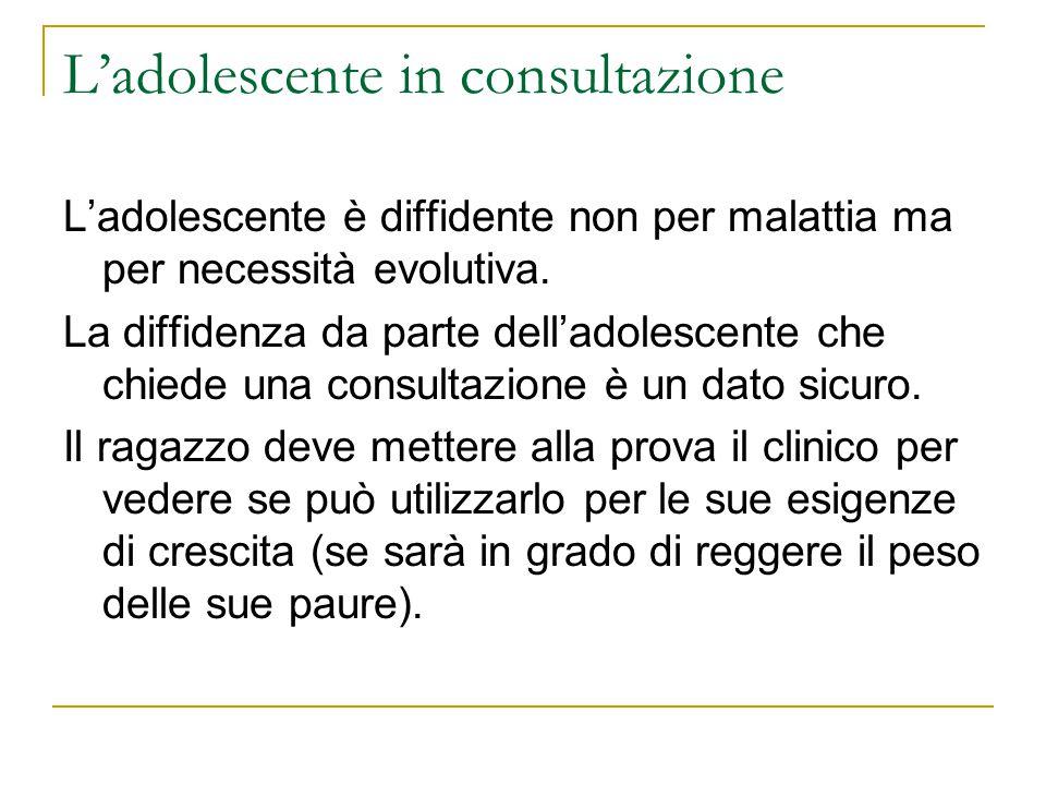 Ladolescente in consultazione Ladolescente è diffidente non per malattia ma per necessità evolutiva. La diffidenza da parte delladolescente che chiede