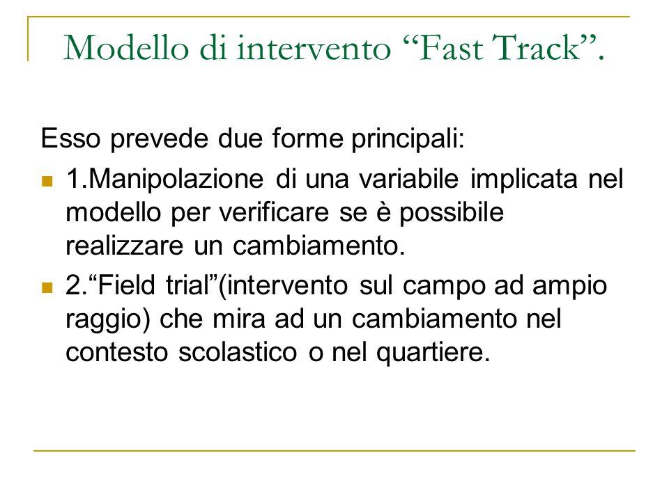 Modello di intervento Fast Track. Esso prevede due forme principali: 1.Manipolazione di una variabile implicata nel modello per verificare se è possib