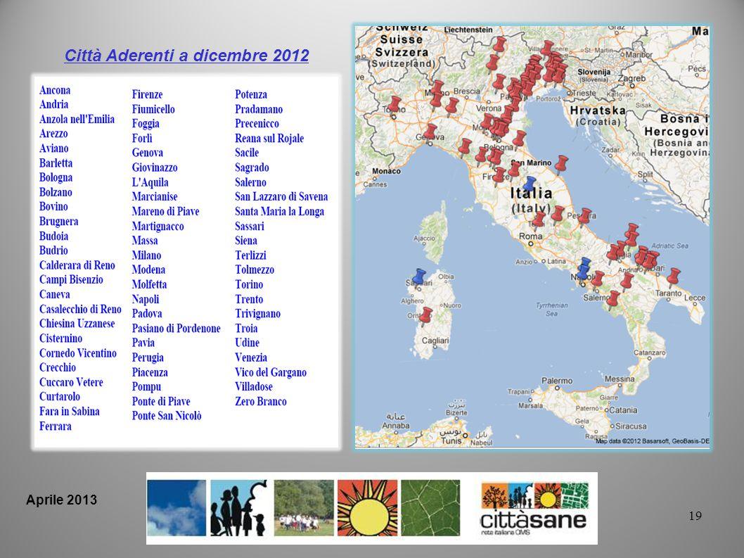 Città Aderenti a dicembre 2012 19 Aprile 2013