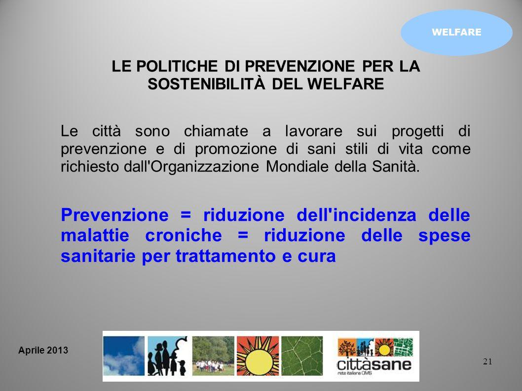 21 WELFARE LE POLITICHE DI PREVENZIONE PER LA SOSTENIBILITÀ DEL WELFARE Le città sono chiamate a lavorare sui progetti di prevenzione e di promozione