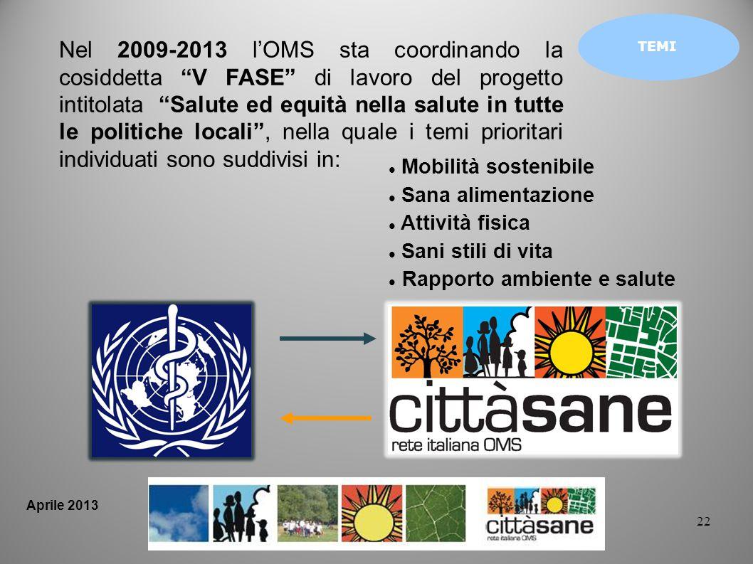 22 TEMI Mobilità sostenibile Sana alimentazione Attività fisica Sani stili di vita Rapporto ambiente e salute Nel 2009-2013 lOMS sta coordinando la co