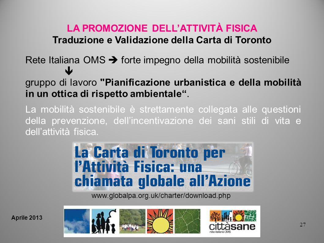 27 LA PROMOZIONE DELLATTIVITÀ FISICA Traduzione e Validazione della Carta di Toronto Rete Italiana OMS forte impegno della mobilità sostenibile gruppo di lavoro Pianificazione urbanistica e della mobilità in un ottica di rispetto ambientale.