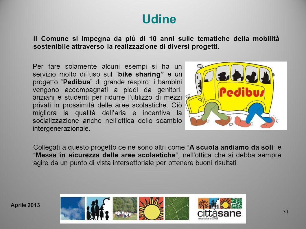 31 Per fare solamente alcuni esempi si ha un servizio molto diffuso sul bike sharing e un progetto Pedibus di grande respiro: i bambini vengono accomp