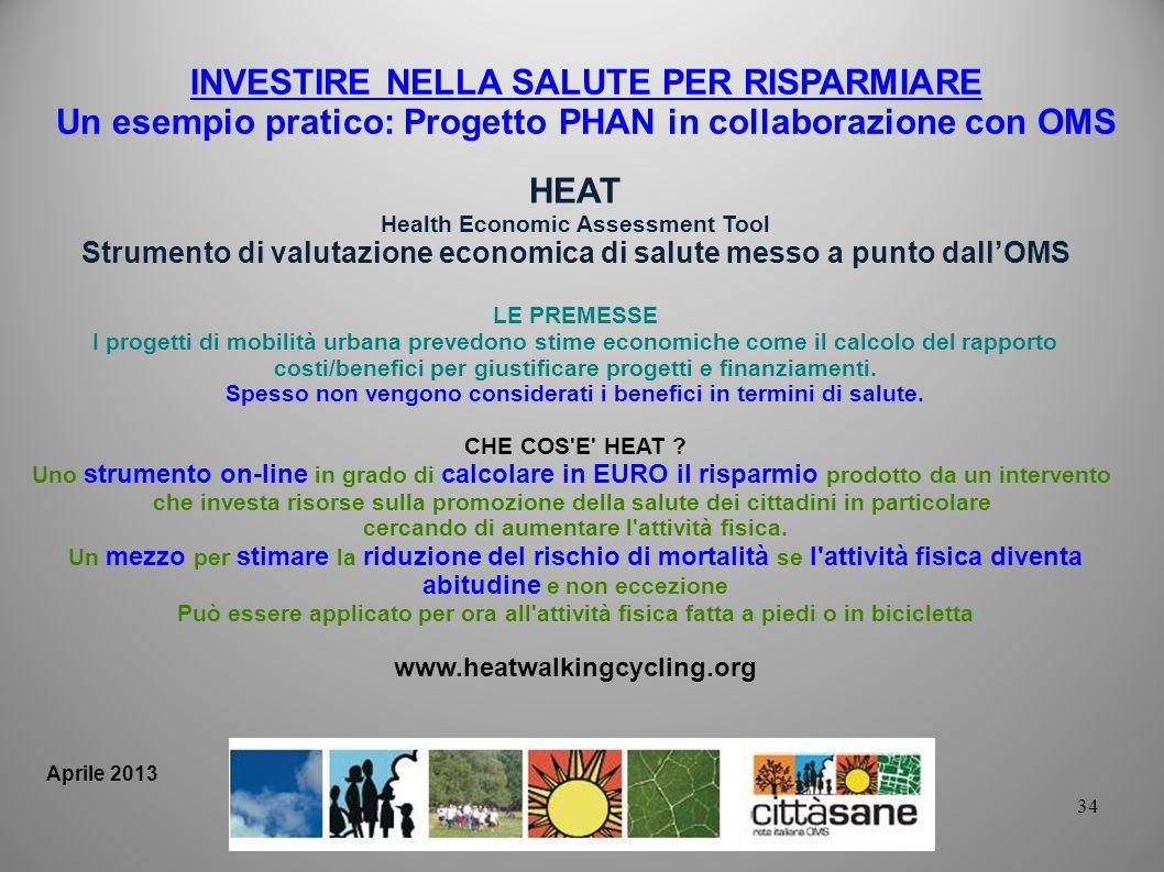 34 INVESTIRE NELLA SALUTE PER RISPARMIARE Un esempio pratico: Progetto PHAN in collaborazione con OMS HEAT Health Economic Assessment Tool Strumento d