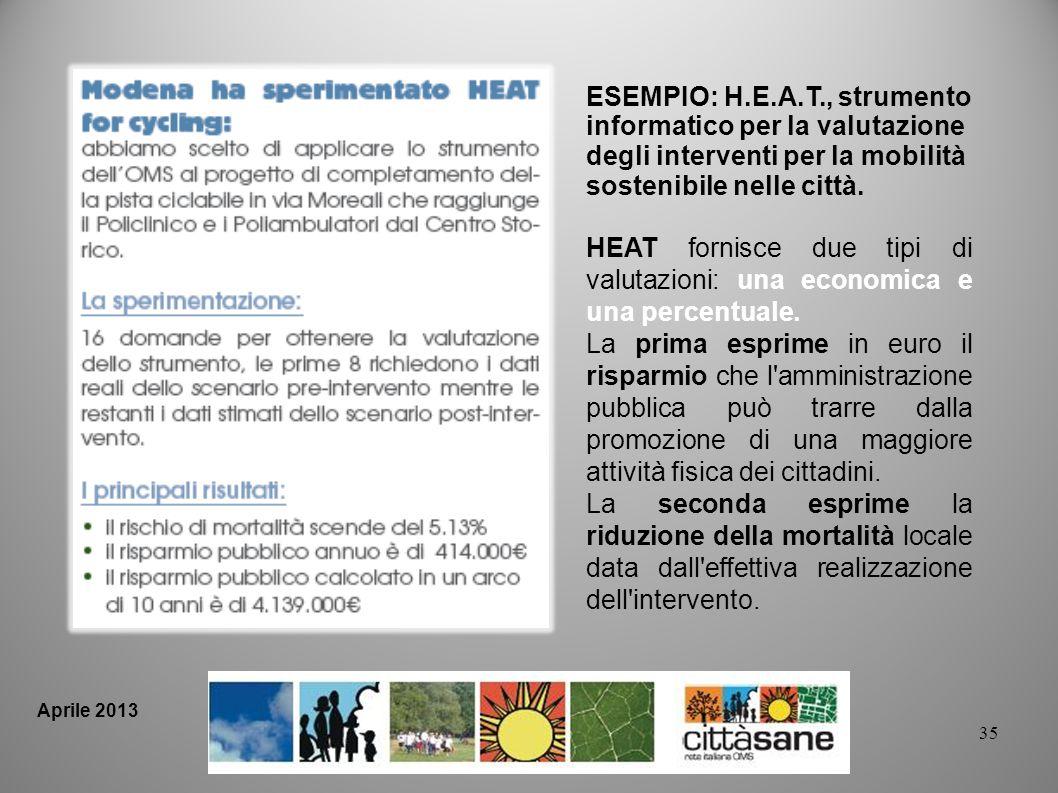 35 ESEMPIO: H.E.A.T., strumento informatico per la valutazione degli interventi per la mobilità sostenibile nelle città. HEAT fornisce due tipi di val