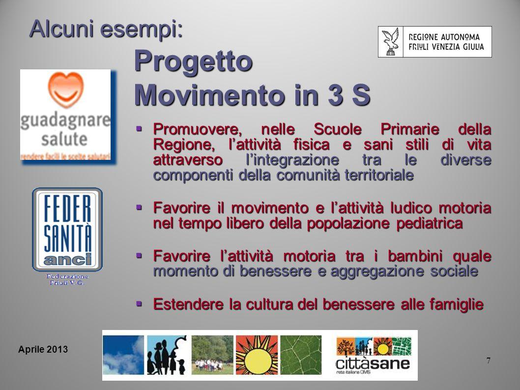 7 Aprile 2013 Alcuni esempi: Progetto Movimento in 3 S Promuovere, nelle Scuole Primarie della Regione, lattività fisica e sani stili di vita attraver