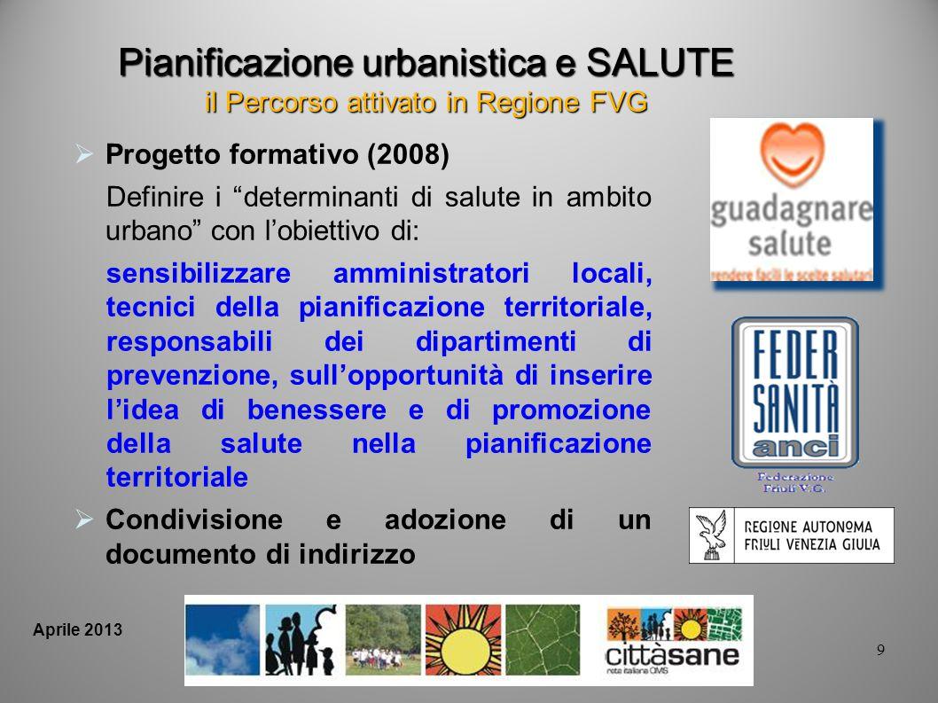 9 Aprile 2013 Pianificazione urbanistica e SALUTE il Percorso attivato in Regione FVG Progetto formativo (2008) Definire i determinanti di salute in a