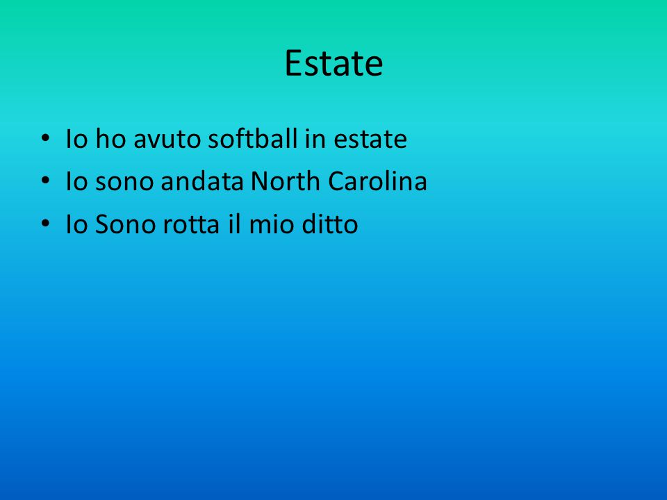 Estate Io ho avuto softball in estate Io sono andata North Carolina Io Sono rotta il mio ditto