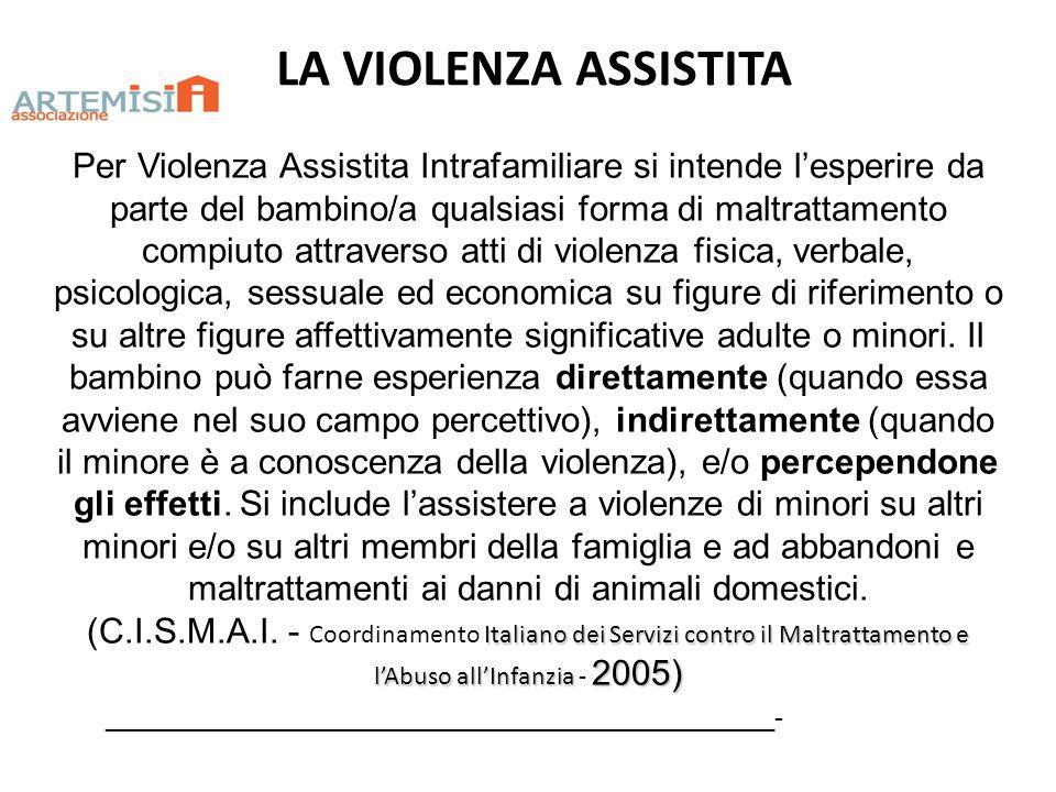 LA VIOLENZA ASSISTITA ______________________________________________- Per Violenza Assistita Intrafamiliare si intende lesperire da parte del bambino/