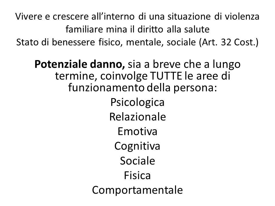 Vivere e crescere allinterno di una situazione di violenza familiare mina il diritto alla salute Stato di benessere fisico, mentale, sociale (Art. 32