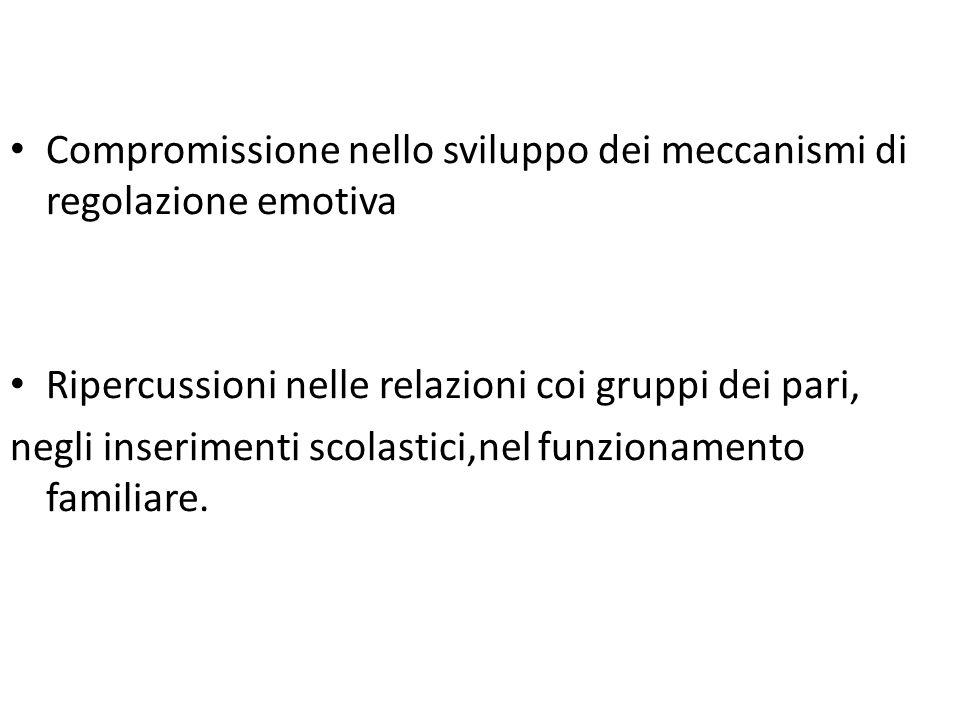 Compromissione nello sviluppo dei meccanismi di regolazione emotiva Ripercussioni nelle relazioni coi gruppi dei pari, negli inserimenti scolastici,nel funzionamento familiare.
