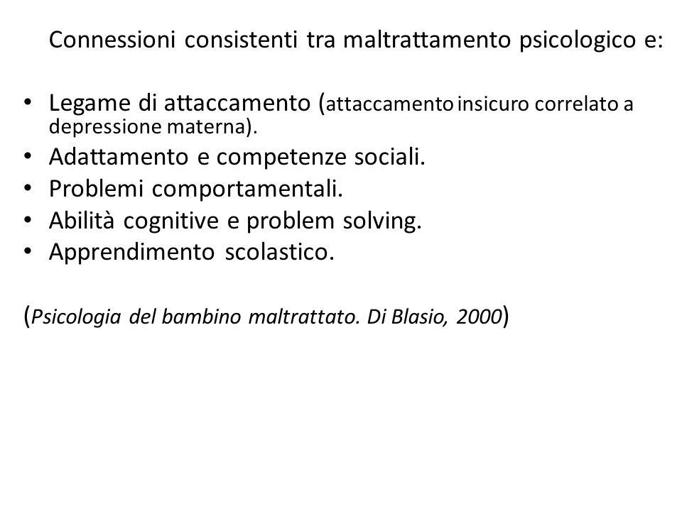 Connessioni consistenti tra maltrattamento psicologico e: Legame di attaccamento ( attaccamento insicuro correlato a depressione materna). Adattamento