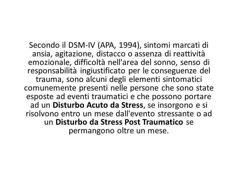 Secondo il DSM-IV (APA, 1994), sintomi marcati di ansia, agitazione, distacco o assenza di reattività emozionale, difficoltà nell'area del sonno, sens