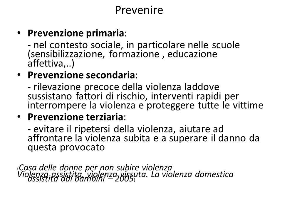 Prevenire Prevenzione primaria: - nel contesto sociale, in particolare nelle scuole (sensibilizzazione, formazione, educazione affettiva,..) Prevenzio