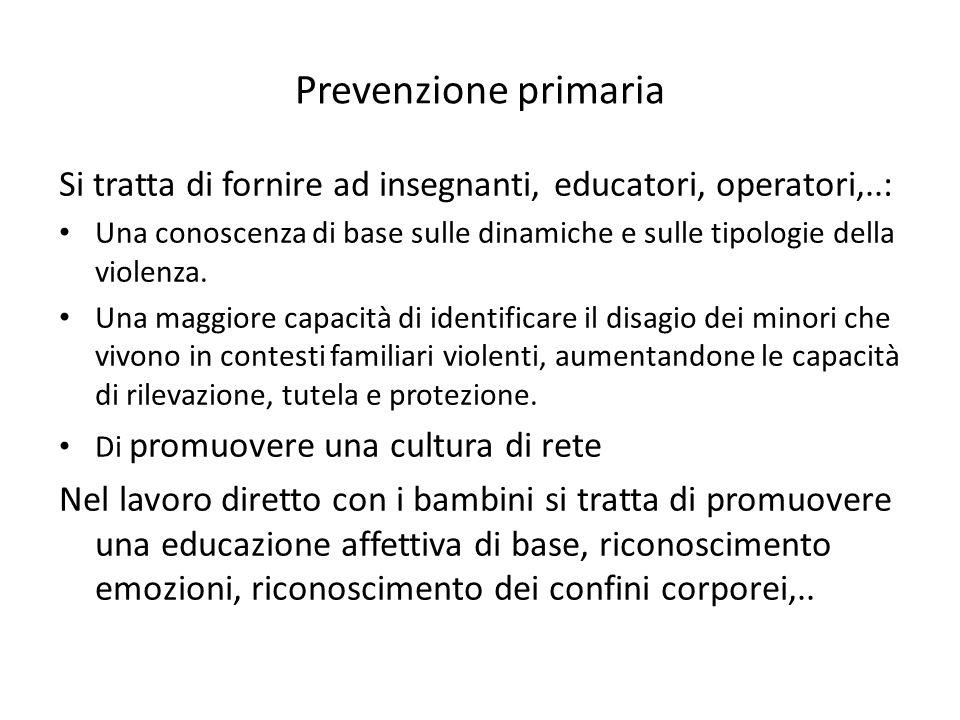 Prevenzione primaria Si tratta di fornire ad insegnanti, educatori, operatori,..: Una conoscenza di base sulle dinamiche e sulle tipologie della violenza.