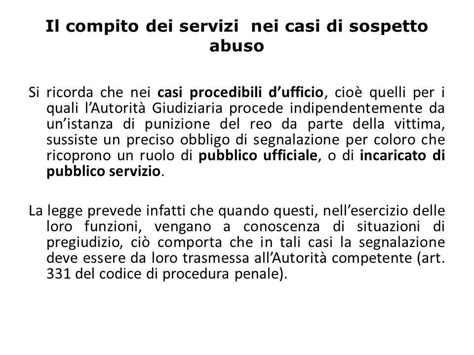 Il compito dei servizi nei casi di sospetto abuso Si ricorda che nei casi procedibili dufficio, cioè quelli per i quali lAutorità Giudiziaria procede