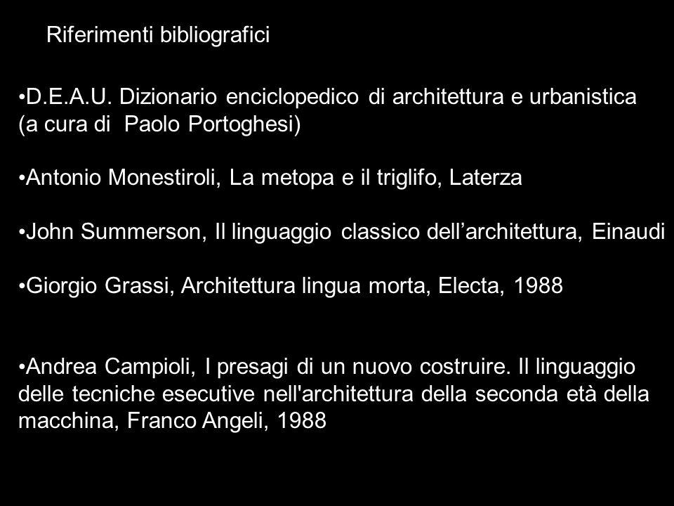 Riferimenti bibliografici D.E.A.U. Dizionario enciclopedico di architettura e urbanistica (a cura di Paolo Portoghesi) Antonio Monestiroli, La metopa