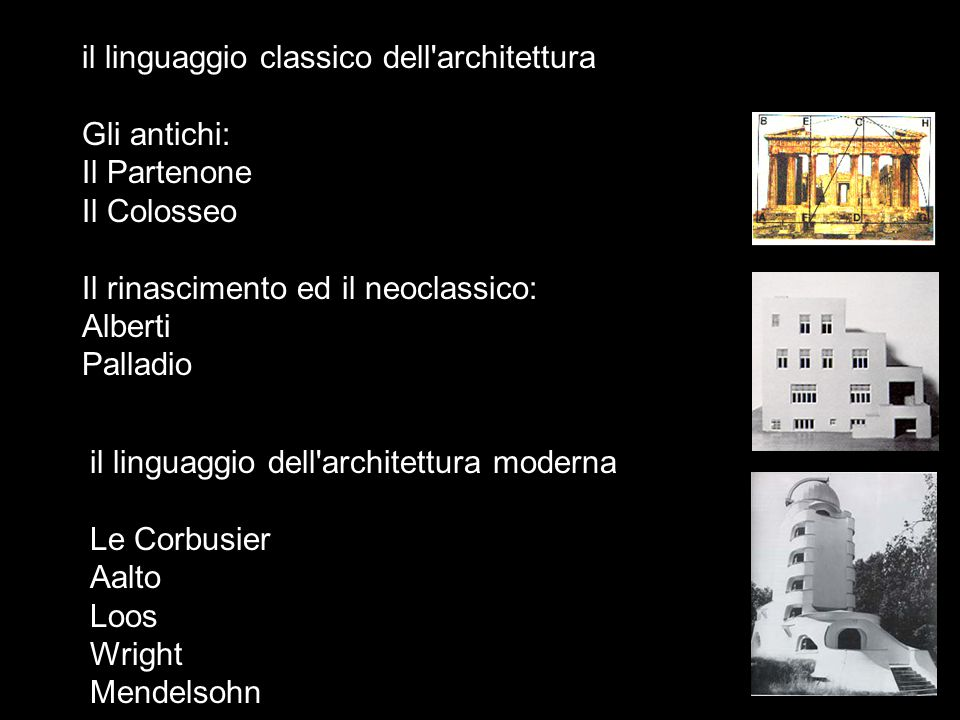il linguaggio classico dell'architettura Gli antichi: Il Partenone Il Colosseo Il rinascimento ed il neoclassico: Alberti Palladio il linguaggio dell'
