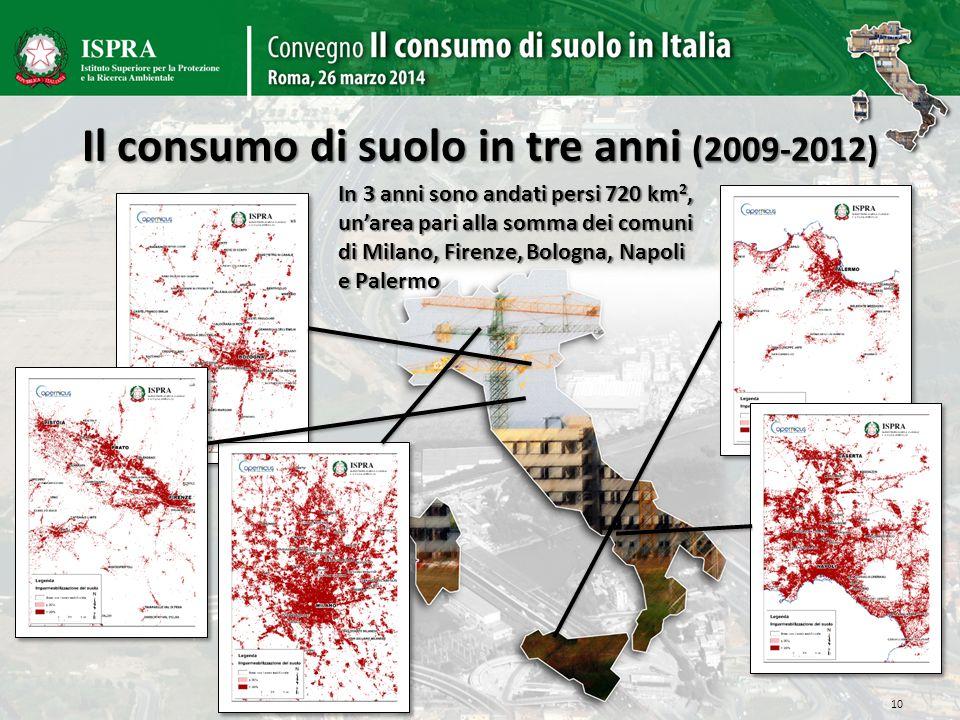 Il consumo di suolo in tre anni (2009-2012) 10 In 3 anni sono andati persi 720 km 2, unarea pari alla somma dei comuni di Milano, Firenze, Bologna, Na