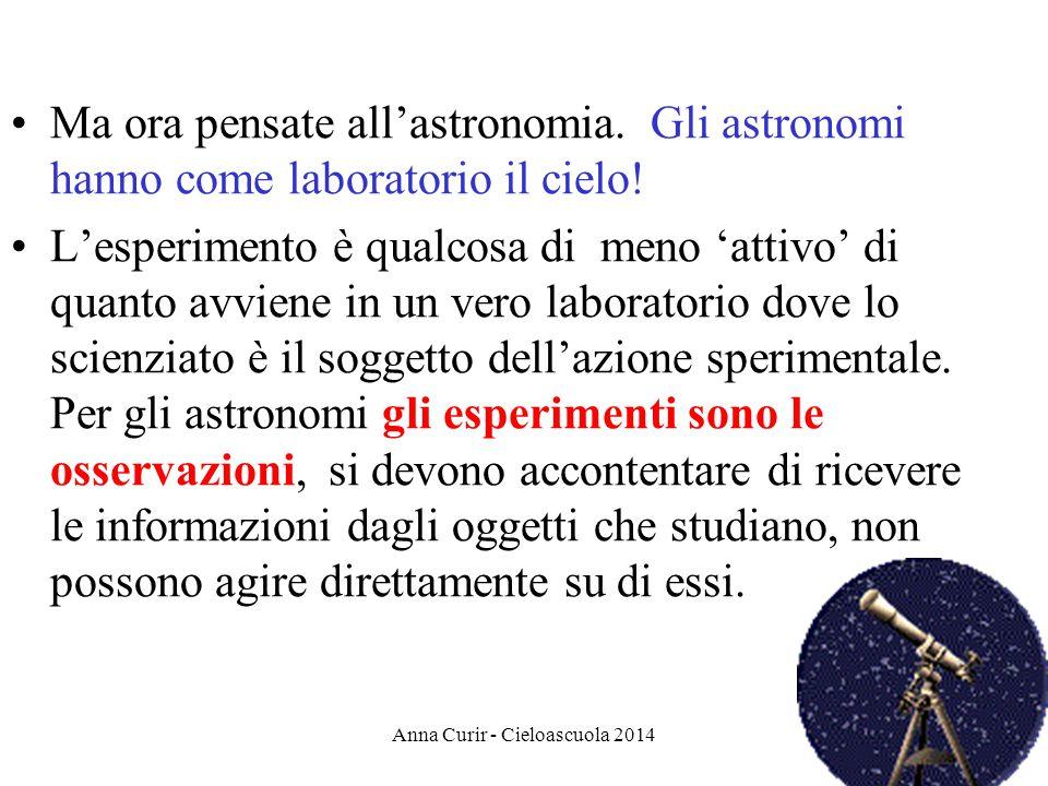 Ma ora pensate allastronomia. Gli astronomi hanno come laboratorio il cielo! Lesperimento è qualcosa di meno attivo di quanto avviene in un vero labor
