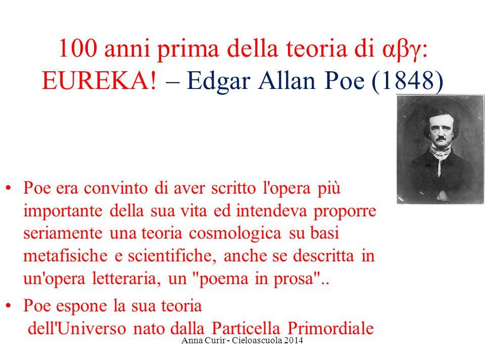 100 anni prima della teoria di αβγ: EUREKA! – Edgar Allan Poe (1848) Poe era convinto di aver scritto l'opera più importante della sua vita ed intende