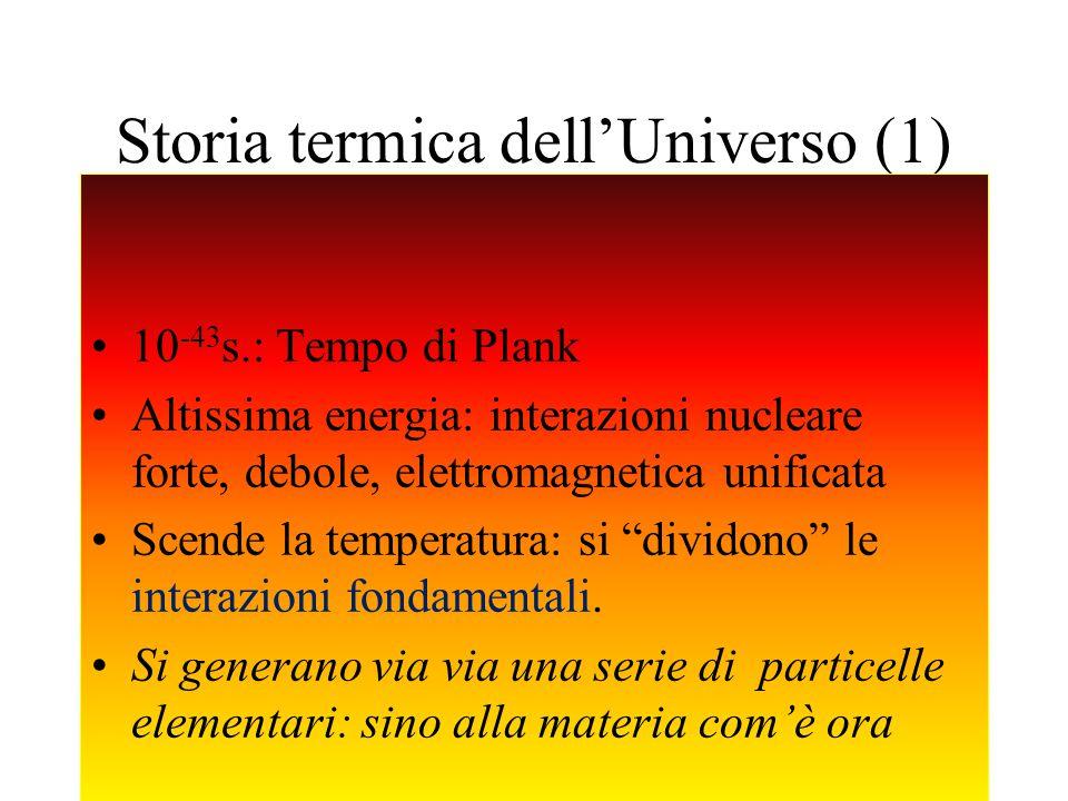 Anna Curir - Cieloascuola 2014 Storia termica dellUniverso (1) 10 -43 s.: Tempo di Plank Altissima energia: interazioni nucleare forte, debole, elettromagnetica unificata Scende la temperatura: si dividono le interazioni fondamentali.