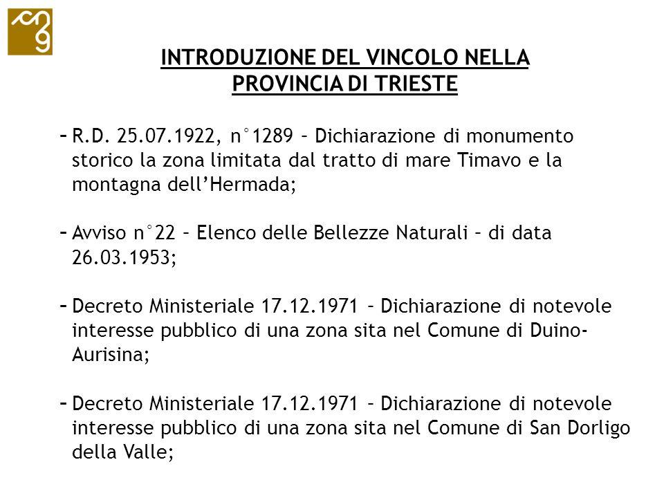 INTRODUZIONE DEL VINCOLO NELLA PROVINCIA DI TRIESTE - R.D. 25.07.1922, n°1289 – Dichiarazione di monumento storico la zona limitata dal tratto di mare