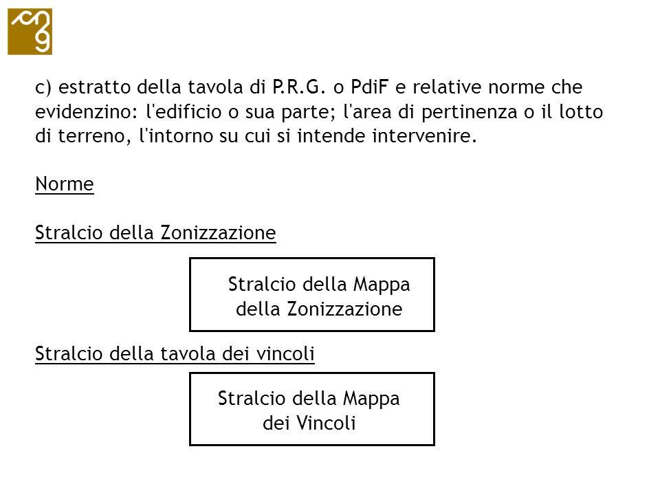 c) estratto della tavola di P.R.G. o PdiF e relative norme che evidenzino: l'edificio o sua parte; l'area di pertinenza o il lotto di terreno, l'intor