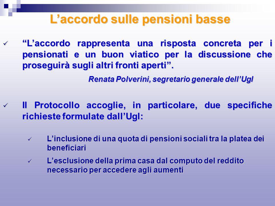 Laccordo rappresenta una risposta concreta per i pensionati e un buon viatico per la discussione che proseguirà sugli altri fronti aperti. Laccordo ra