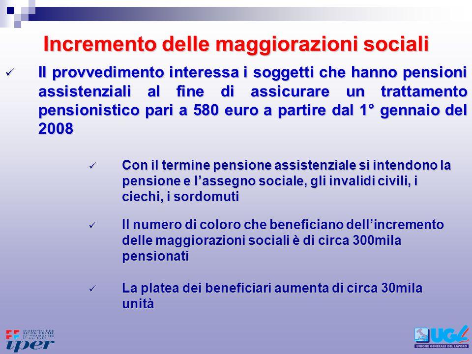 Somma aggiuntiva per i pensionati previdenziali A decorrere dal 2008 è introdotta una somma aggiuntiva a beneficio dei pensionati previdenziali a condizione che ricorrano certi criteri di reddito A decorrere dal 2008 è introdotta una somma aggiuntiva a beneficio dei pensionati previdenziali a condizione che ricorrano certi criteri di reddito Per ottenere il beneficio è necessario non possedere un reddito complessivo superiore ad 1,5 volte il trattamento minimo (8.504,73 euro per lanno 2007 – 654 euro mensili) Per ottenere il beneficio è necessario non possedere un reddito complessivo superiore ad 1,5 volte il trattamento minimo (8.504,73 euro per lanno 2007 – 654 euro mensili) Per la determinazione del reddito si escludono la casa di abitazione, gli assegni al nucleo familiare e altre competenze di carattere straordinario Per la determinazione del reddito si escludono la casa di abitazione, gli assegni al nucleo familiare e altre competenze di carattere straordinario Letà di accesso alla somma aggiuntiva è disposta in 64 anni Letà di accesso alla somma aggiuntiva è disposta in 64 anni