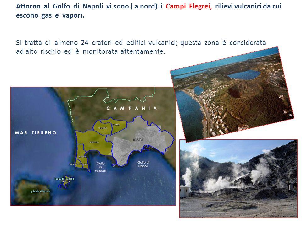 Attorno al Golfo di Napoli vi sono ( a nord) i Campi Flegrei, rilievi vulcanici da cui escono gas e vapori.